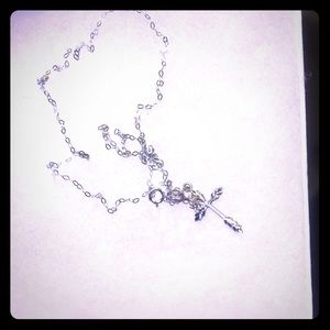 Italian 10K white gold necklace with 925 pendant